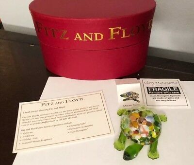 Fitz and Floyd Glass Menagerie Mosaic Turtle Figurine MIB