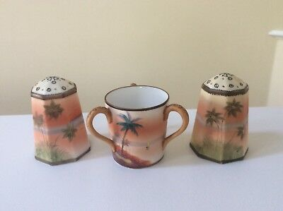 Vintage Hand Painted Nippon Salt, Pepper, Toothpick 3-pc. set, moriage, EUC