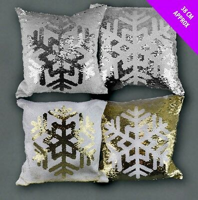 "17"" Snowflake Let it Snow Christmas Cushion Cover Square Pillow Case Sofa"