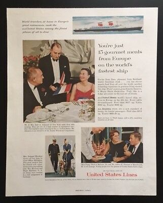 1961 United States Lines cruise ship vacation dining cruising vintage print ad