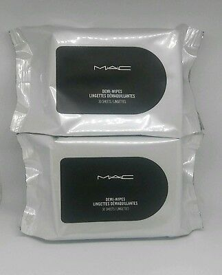 2 Pack MAC DEMI WIPES Makeup Remover Face Cleansing 30 Sheets Each 60 Total