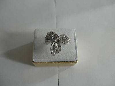 QVC Diamonique CZ Calla Lily Flower Ring Sterling Silver 925 Size 5