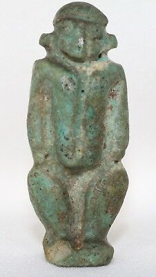 "Ancient Glazed Porcelain Egyptian Dwarf God Bes 4"" Amulet"