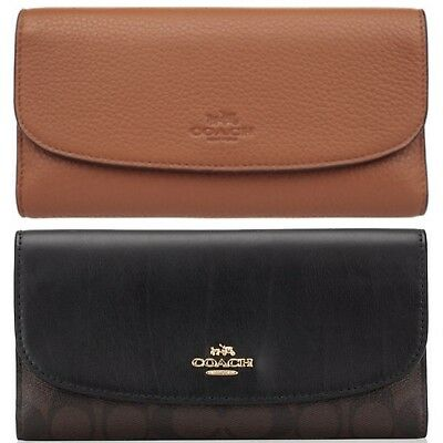 Coach Signature or Leather Checkbook Wallet Clutch Brown Black or Saddle New NWT