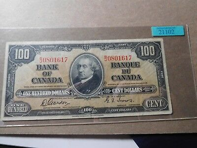 Canada - Bank of Canada $100 note  1937 - minimal signs of wear