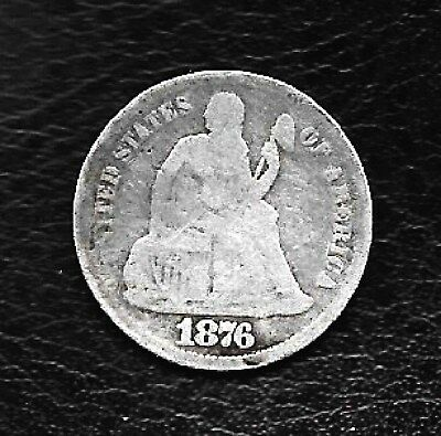 1876-CC Seated Liberty Dime VG-Fine Tough date RARE Nice Collector's coin