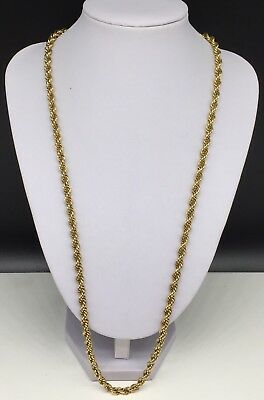 "910378d1e Vintage Designer Signed Monet Gold Tone Rope Chain Necklace 27"" Long"