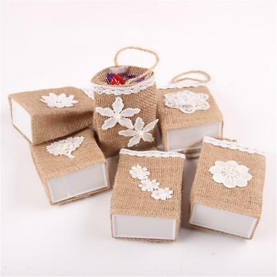 6pcs Rustic Burlap Candy Bags Gift Basket Wedding Birthday Christmas Party Favor