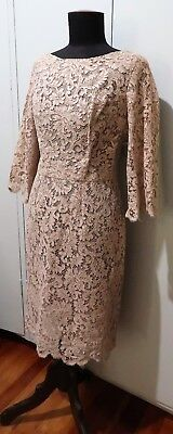 Immaculate Vintage 1950s Silk Organza Lined Taupe Lace Women's Dress- 48cm Bust