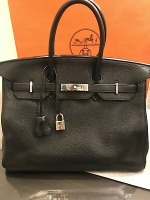 78ba16631b6b HERMES BIRKIN 35 BLACK PHW CLEMENCE LEATHER BAG EUC Certificate Of  Authenticity