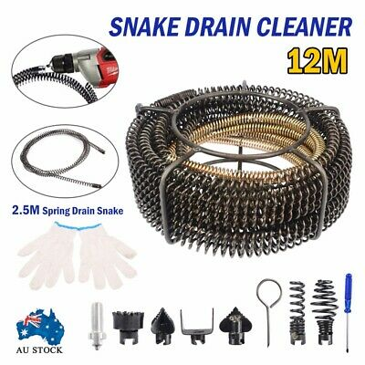 Plumber Drain Snake Pipe Pipeline Sewer Cleaner 12M+2.5M pirals Electrical Drill