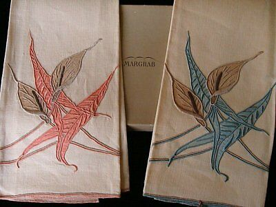 FAB PAIR Vintage Marghab Linen Guest Towels Calla Lily Madeira Hand Embroidered