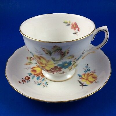 Queen Anne Fine Bone China England Floral Footed Tea Cup and Saucer