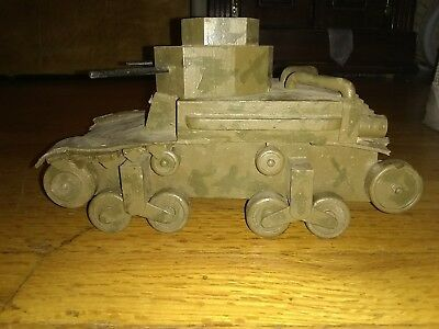 Vtg US Pre WW2 HOME FRONT PAINTED WOOD M-2 Light TANK Antique 40s Wooden RARE