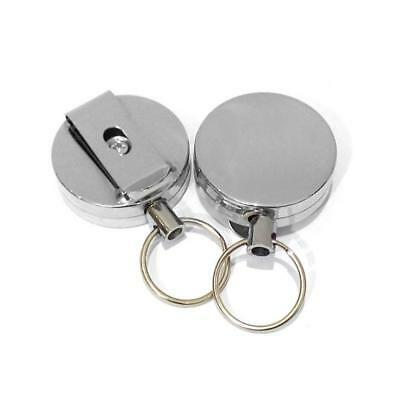 2Pcs Stainless Silver Retractable Key Chain Recoil Keyring Heavy Duty Steel LN