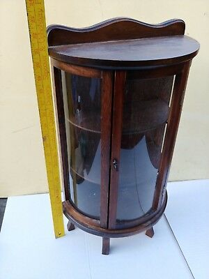 Antique Wall Display Curio Cabinet ~ Divided Glass 22'' tall vintage china