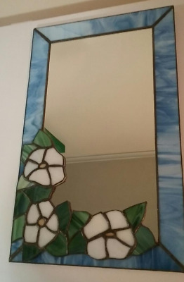 """Vintage Leaded Stained Glass Hanging Mirror / Floral   18 1/4""""  x 11 1/4"""""""