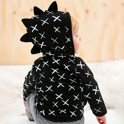 Baby Boys Girls Dinosaur Long Sleeve Hoodies Jacket Hooded Coat Outwear Black AU