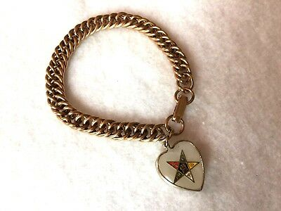 Vintage Gold Tone  Charm Bracele with Eastern Star Charm, 7 Inches