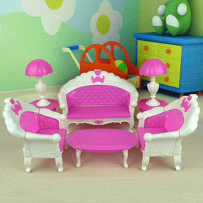 7Pcs Toys For Barbie Doll Sofa Chair Couch Desk Lamp Furniture Set k&