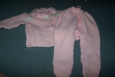 Craft Knitting. Pink Crochet 2 piece Baby Sweater & footed bottoms. Vintage.