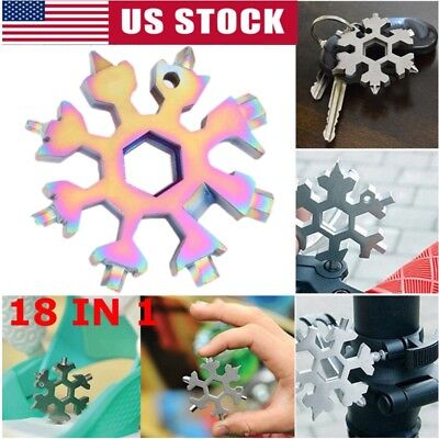 18 In 1 Stainless Steel EDC Flat Cross Screwdriver Snowflake Shape Multi Tool US