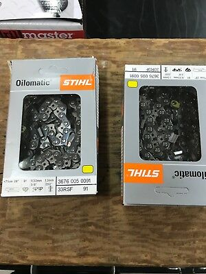 Two 28 Inch Nib 33Rs 91 Stihl Chainsaw Chains For A 28 Inch Bar 3/8 Brand New