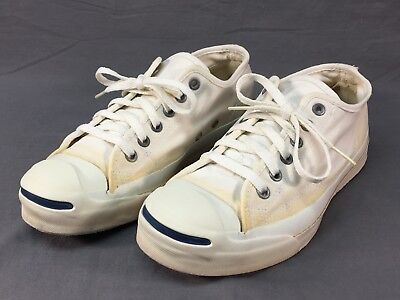 eaf72f322e6342 VINTAGE CONVERSE JACK Purcell White Canvas Tennis Shoes Sneakers USA ...