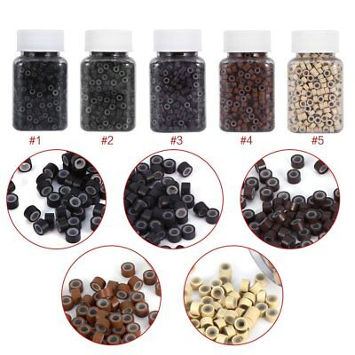 500pcs Soft Silicone Lined Link Rings Beads Loops For Human Hair Extension 5MM