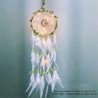 LED Light Dream Catcher Feathers Wall Hanging Decoration Ornament Gift Car/ Home