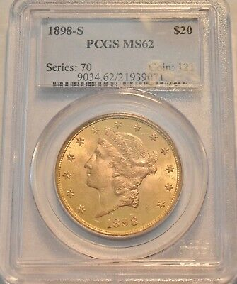 1898 S $20 PCGS MS 62 Gold Liberty Double Eagle,PQ Coin Better Date Uncirculated