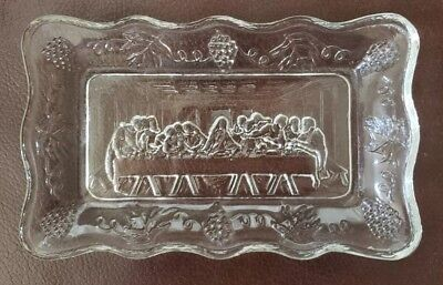 Vtg  Clear Glass Last Supper Bread Dish Serving Tray/ Plate