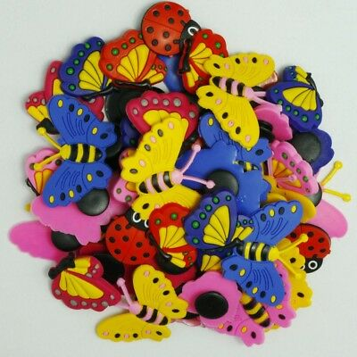 50pcs Cute Butterfly Cartoon Shoe Charms For Girls Sandle Shoes Wristbands