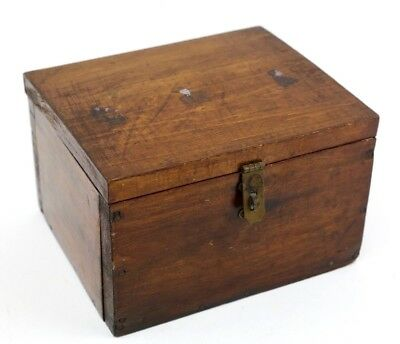 Antique Primitive Wooden Box w/ Brass Latch Don Winslow of the Navy Graphic Vtg