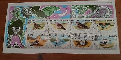 DUBAI 1968 Mint Hinged Stamps Set of 8-Mini Sheet BIRDS