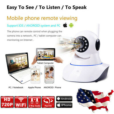 Wireless Pan/Tilt IP Spy Security Camera Network CCTV Night Vision WiFi Cam US