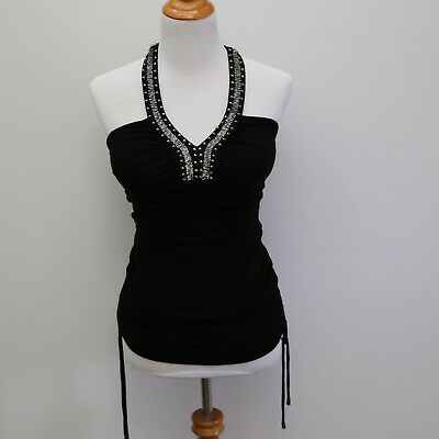 f8757eee9a80 Guess Halter Top Sexy Semi Open Back Solid Black Beaded Embellished Size M