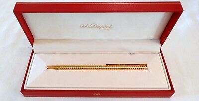 S. T. Dupont Classique Ballpoint Pen In Stacked Circle Gold Plated Design - Mint