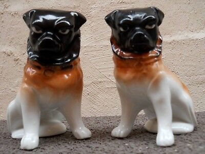 Vintage Pair Porcelain Pug Dogs Statues Figures Stamped Victoria Czecho-Slovakia