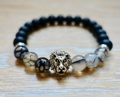 Black Onyx Matte & Black Tourmaline Bracelet Silver Lion 8mm Beads Natural Leo