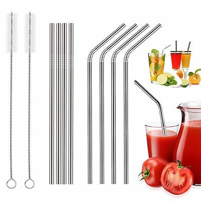 Reusable 8x Steel Metal Drinking Straw Stainless Bent Straws Washable+2 Brushes