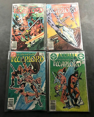 The Warlord Comic Lot of 4 DC Comics Vintage 1983-1984 W Protective Sleeves