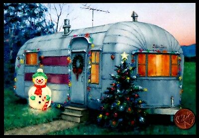 Christmas Card RV Camper Trailer Snowman Tree -  Christmas Greeting Card - NEW