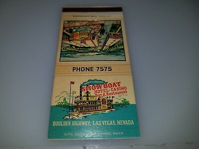 Vintage Matchbook Cover From Showboat Hotel And Casino Las Vegas Nv  Lot #2