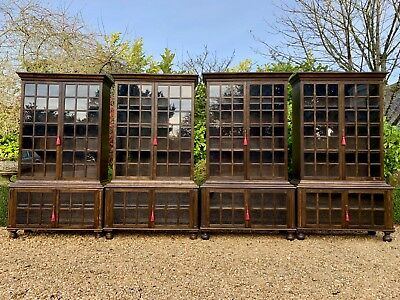 Antique Bookcases Set of Four Pepys Style Solid Oak Arts & Crafts Circa 1920s