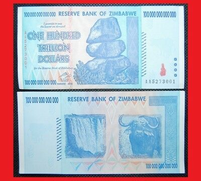 CHEAP! Zimbabwe 100 Trillion. 2008 AA. Genuine. Circulated.