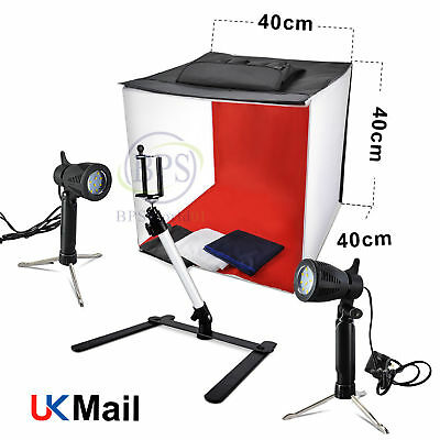 Foldable 40cm Lighting Cube Tent Soft Box Led Light Photo Studio 4 Background UK