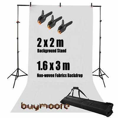 Photo Studio Background Support Stand + Free White Backdrop Clamp Clips Kit Set