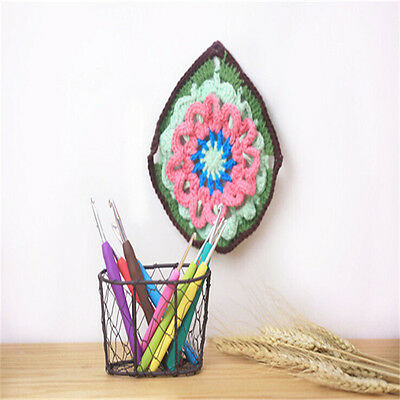 9pcs Ergonomic Aluminum Crochet Hook Grip Sharp Colorful Handle Knitting Needles