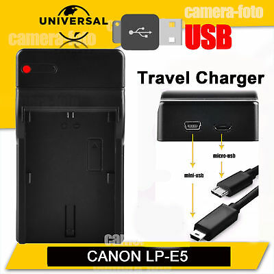 USB LP-E5 Battery Charger for Canon EOS 450D 500D 1000D Digital Rebel Xsi XS T1i
